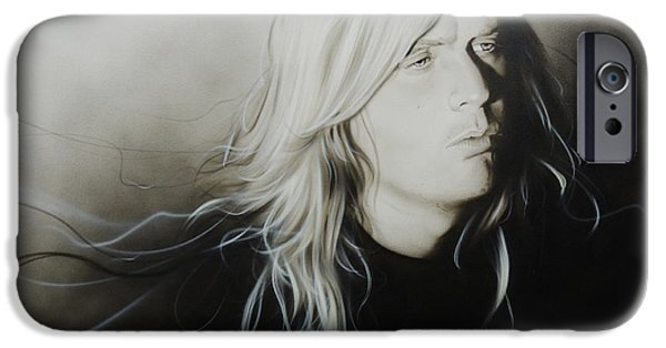 Heavy Metal Paintings iPhone Cases - Jeff H iPhone Case by Christian Chapman Art