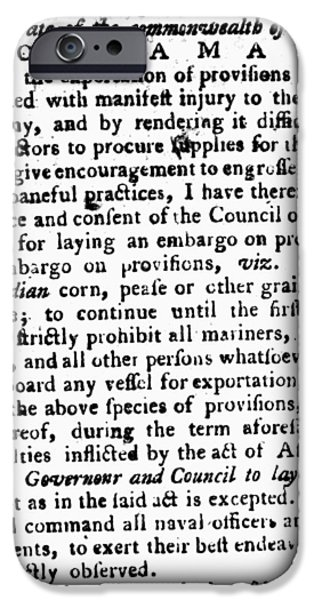 JEFFERSON: EMBARGO, 1779 iPhone Case by Granger