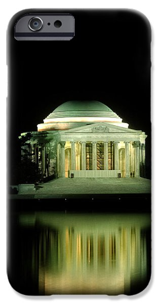 Chrystal iPhone Cases - Jefferson Memorial at Night iPhone Case by Greg and Chrystal Mimbs