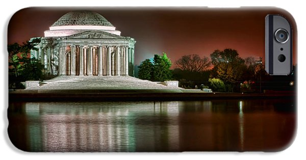 Basin iPhone Cases - Jefferson Memorial at Night iPhone Case by Olivier Le Queinec