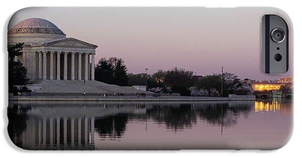 Washingtondc iPhone Cases - Jefferson Memorial at Sunrise I iPhone Case by Debra Bowers