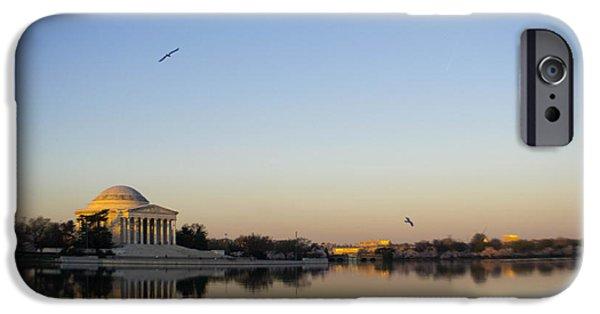 Washingtondc iPhone Cases - Jefferson Memorial at Sunrise IV iPhone Case by Debra Bowers
