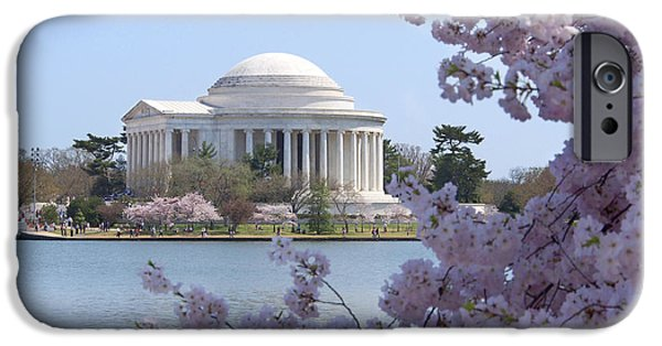 Blossom iPhone Cases - Jefferson Memorial - Cherry Blossoms iPhone Case by Mike McGlothlen