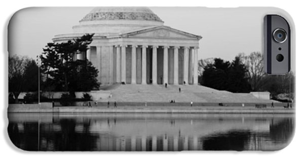 Washingtondc iPhone Cases - Jefferson Memorial in B and  W iPhone Case by Debra Bowers
