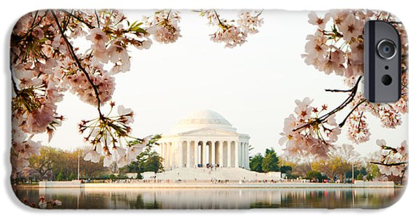 District Columbia Photographs iPhone Cases - Jefferson Memorial With Reflection and Cherry Blossoms iPhone Case by Susan  Schmitz