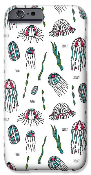 Jellyfish iPhone Cases - JELLYfish Repeat Print iPhone Case by Susan Claire