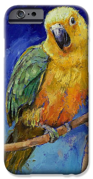 Michael Paintings iPhone Cases - Jenday Conure iPhone Case by Michael Creese