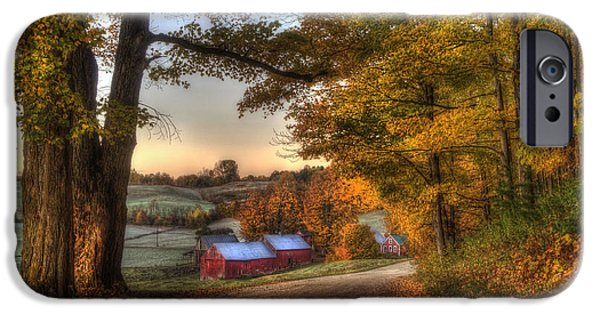 Barn Print Photographs iPhone Cases - Jenne Farm - Autumn in Vermont iPhone Case by Joann Vitali