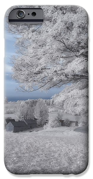 Red Barn In Winter iPhone Cases - Jenne Farm Vermont in Infrared iPhone Case by Joann Vitali