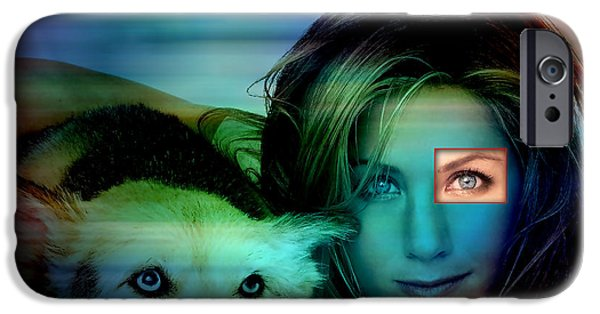 Dog iPhone Cases - Jennifer Aniston and Dog  iPhone Case by Marvin Blaine