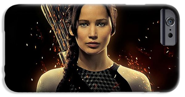 Xmen iPhone Cases - Jennifer Lawrence as Katniss Everdeen iPhone Case by Movie Poster Prints