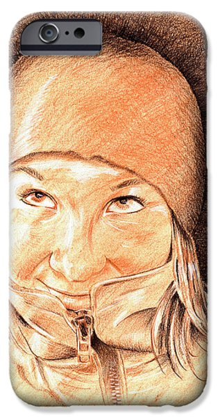 Expressive Drawings iPhone Cases - Jenny 2 iPhone Case by Hakon Soreide