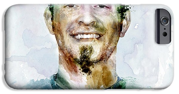 Jeremy iPhone Cases - Jeremy Affeldt watercolor iPhone Case by Marian Voicu