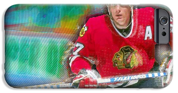 Jeremy iPhone Cases - Jeremy Roenick Chicago Blackhawks  iPhone Case by Tony Rubino