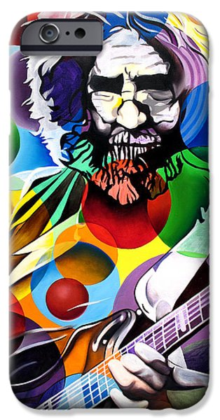 Heads iPhone Cases - Jerry Garcia in Bubbles iPhone Case by Joshua Morton