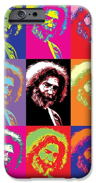 Counterculture iPhone Cases - Jerry Garcia Pop Art Collage iPhone Case by Dan Sproul