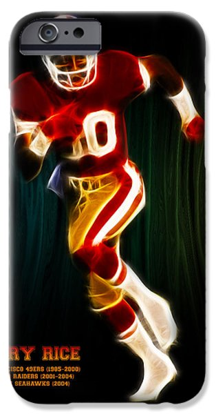 Quarterback iPhone Cases - Jerry Rice iPhone Case by Aged Pixel