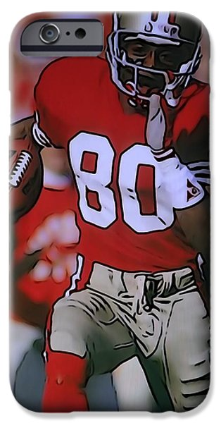 San Francisco Cali iPhone Cases - Jerry Rice iPhone Case by Dan Sproul