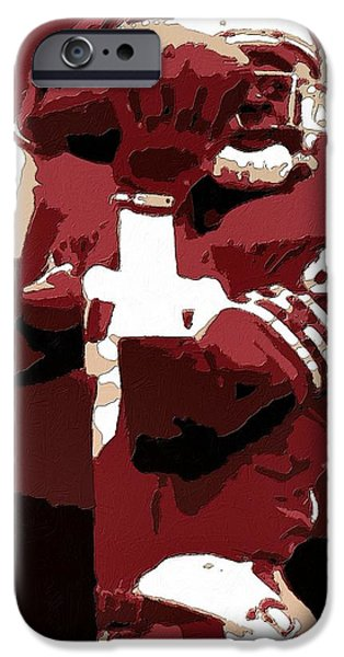 Seahawks iPhone Cases - Jerry Rice Poster Art iPhone Case by Florian Rodarte