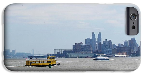 Cities Tapestries - Textiles iPhone Cases - Jersey City  ferry NYC iPhone Case by Ted Pollard