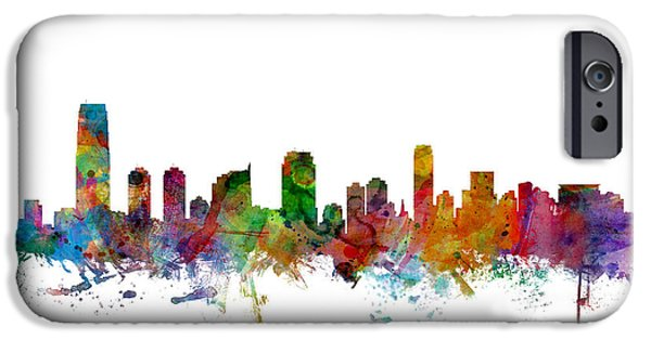 New Jersey iPhone Cases - Jersey City New Jersey Skyline iPhone Case by Michael Tompsett