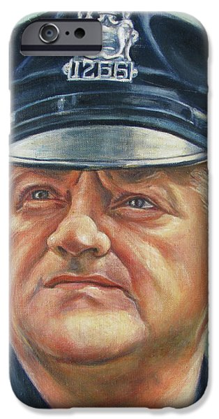 Law Enforcement Paintings iPhone Cases - Jersey City Policeman iPhone Case by Melinda Saminski