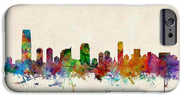 States iPhone Cases - Jersey City Skyline iPhone Case by Michael Tompsett