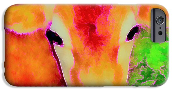 Barnyard Animals iPhone Cases - Jersey Girl - Cow - Hot Pink Pop Art   iPhone Case by Janine Riley