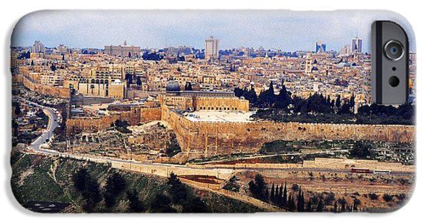 Fletcher iPhone Cases - Jerusalem from Mount Olive iPhone Case by Thomas R Fletcher