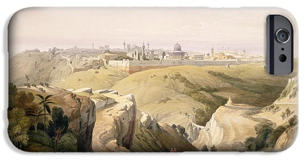 Remnant iPhone Cases - Jerusalem from the Mount of Olives iPhone Case by David Roberts