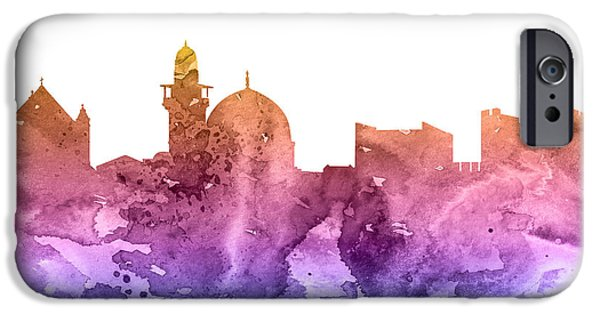 Maps Paintings iPhone Cases - Jerusalem iPhone Case by Luke and Slavi