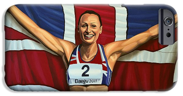 Stadiums Paintings iPhone Cases - Jessica Ennis iPhone Case by Paul  Meijering
