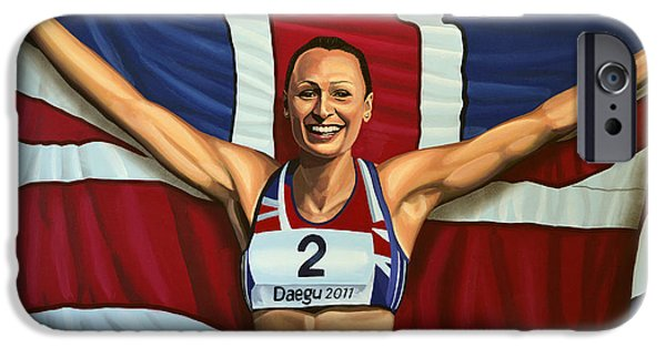 Sports Paintings iPhone Cases - Jessica Ennis iPhone Case by Paul Meijering