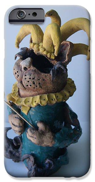 Fantasy Ceramics iPhone Cases - Jester cat iPhone Case by Susan  Brown    Slizys art signature name
