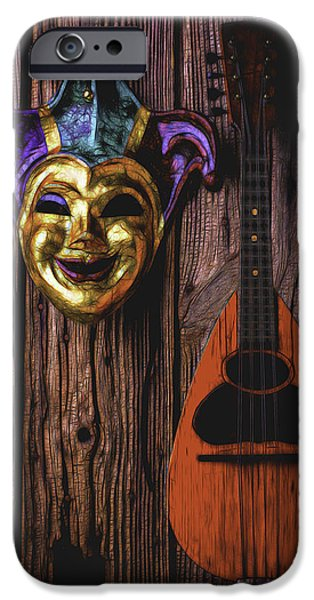 Treasure Box iPhone Cases - Jester Mask And mandolin iPhone Case by Garry Gay