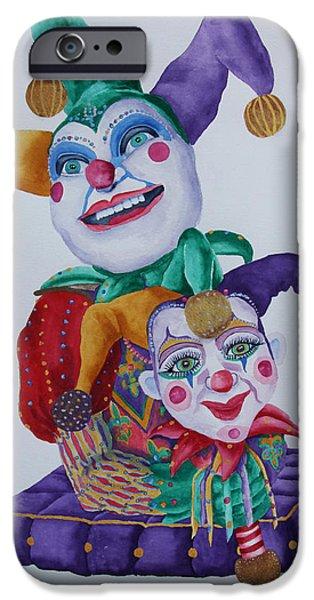 Mardi Gras Paintings iPhone Cases - Jesters on Bourbon Street  iPhone Case by Rhonda Leonard