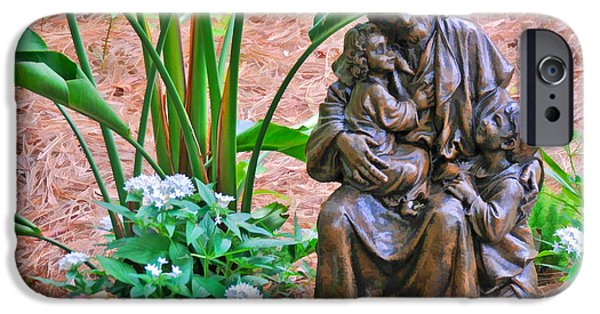Jesus With Children iPhone Cases - Jesus with Child Garden Sculpture iPhone Case by Ginger Wakem