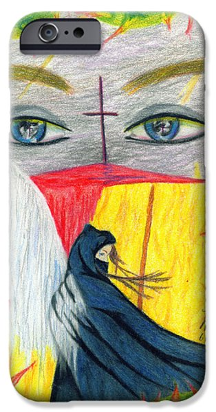 Jesus Drawings iPhone Cases - Jesus and Death iPhone Case by Kd Neeley