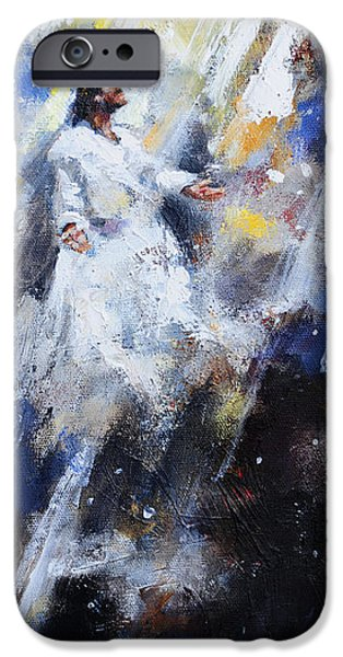 Disciples Paintings iPhone Cases - Jesus Ascending iPhone Case by Carole Foret
