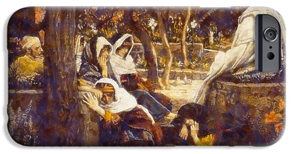 Garden Scene Digital iPhone Cases - Jesus At bethany iPhone Case by James Tissot