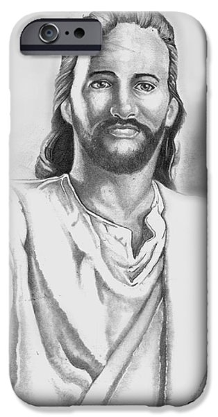 Jesus Drawings iPhone Cases - Jesus iPhone Case by Bill Richards