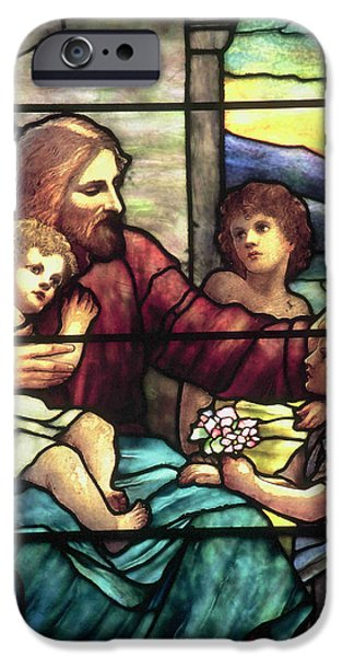 Jesus iPhone Cases - Jesus Blessing The Children in stained glass iPhone Case by Philip Ralley
