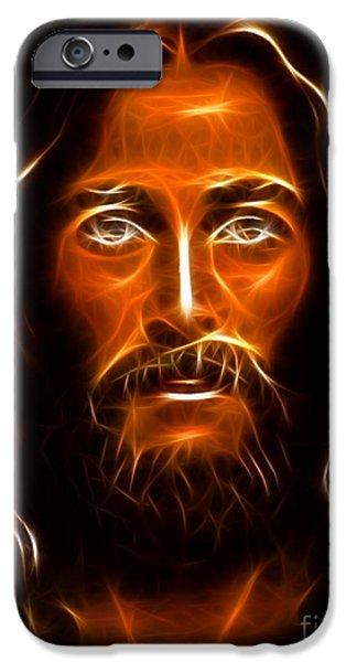 Jesus Crucifiction iPhone Cases - Brilliant Jesus Christ Portrait iPhone Case by Pamela Johnson