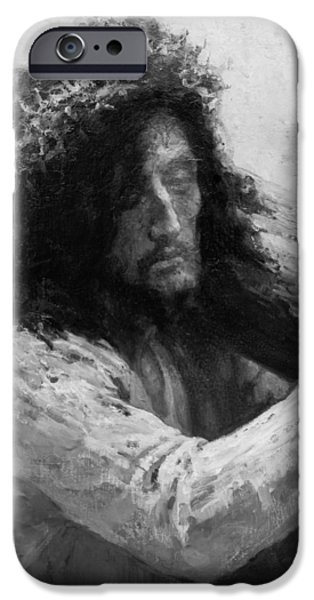 Jesus Drawings iPhone Cases - Jesus carrying the cross circa 1898  iPhone Case by Aged Pixel