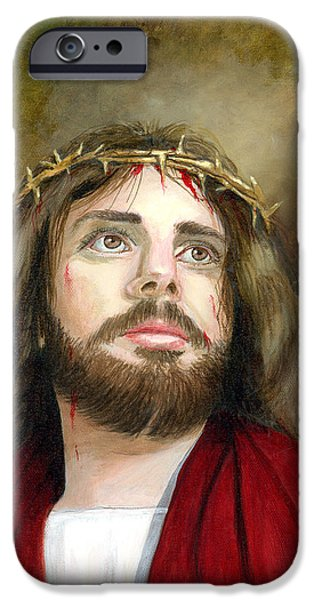 Jesus Christ Crown of Thorns iPhone Case by Cecilia  Brendel