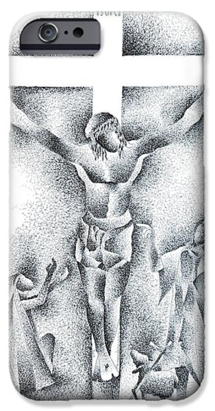 Jesus Crucifiction iPhone Cases - Jesus Christ Crucifixtion Drawing iPhone Case by Murugenderan S