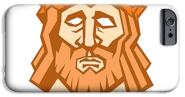 Jesus Artwork iPhone Cases - Jesus Christ Face Crown Thorns Retro iPhone Case by Aloysius Patrimonio