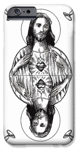 Jesus Drawings iPhone Cases - Jesus Christ iPhone Case by Magdalena Walulik
