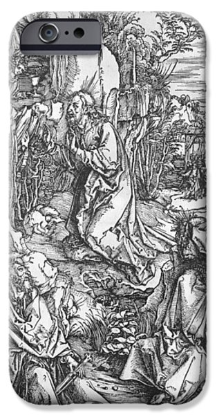 Jesus Drawings iPhone Cases - Jesus Christ on the Mount of Olives iPhone Case by Albrecht Durer or Duerer