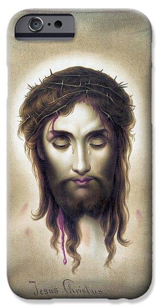 Jesus Crucifiction iPhone Cases - Jesus Christus - Veronicas Veil - 1876 iPhone Case by Daniel Hagerman